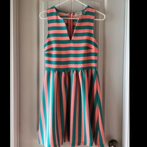 Everly Pink and Blue Striped Dress
